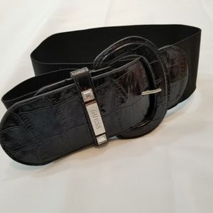 Guess Black Elastic Belt with Silver Hardware